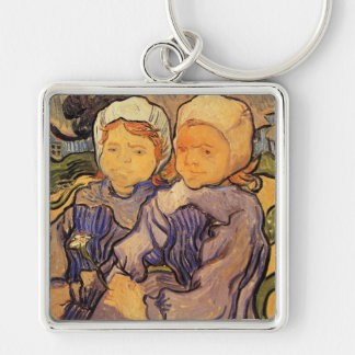 Van Gogh, Two Children, Vintage Impressionism Art Silver-Colored Square Key Ring