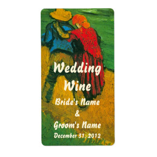 Van Gogh Two Lovers; Customizable Wedding Wine Shipping Label