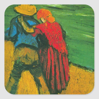 Van Gogh Two Lovers Square Sticker