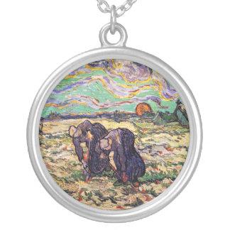 Van Gogh - Two Peasant Women Digging In Field Custom Jewelry