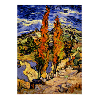 Van Gogh - Two Poplars on a Hill - 1889 Poster