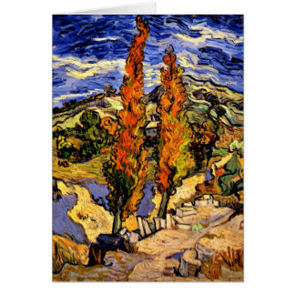 Van Gogh - Two Poplars on a Hill Card