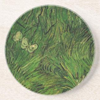 Van Gogh Two White Butterflies, Vintage Fine Art Coaster