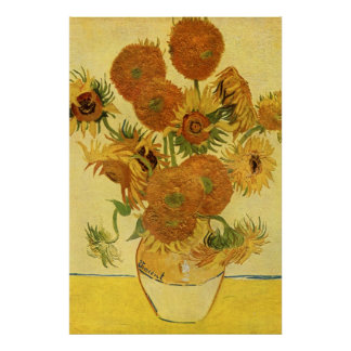 Van Gogh: Vase Fifteen Sunflowers Vintage Fine Art Posters