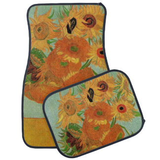 Van Gogh Vase with 12 Sunflowers, Flowers Fine Art Car Mat