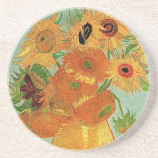 Van Gogh Vase with 12 Sunflowers, Flowers Fine Art Sandstone Coaster