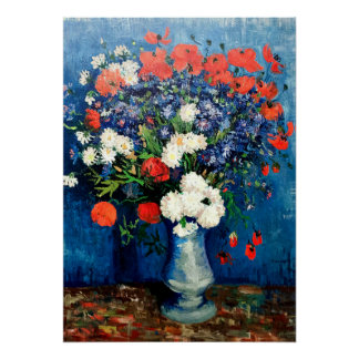Van Gogh - Vase with Cornflowers and Poppies Poster