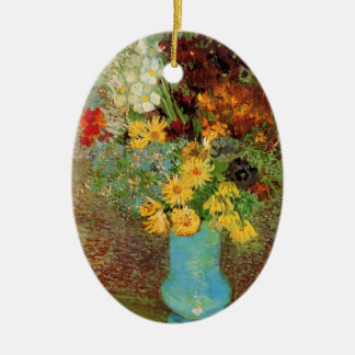 Van Gogh Vase with Daisies and Anemones Fine Art Ceramic Ornament
