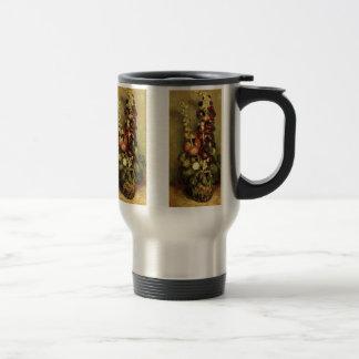 Van Gogh Vase with Hollyhocks, Vintage Fine Art Travel Mug