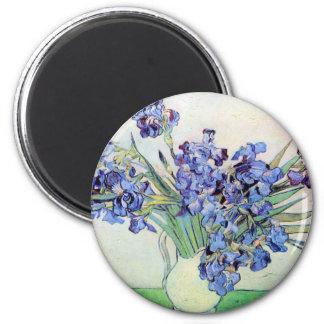 Van Gogh Vase with Irises, Vintage Floral Fine Art 6 Cm Round Magnet