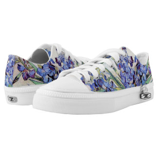 Van Gogh Vase with Irises, Vintage Floral Fine Art Low Tops