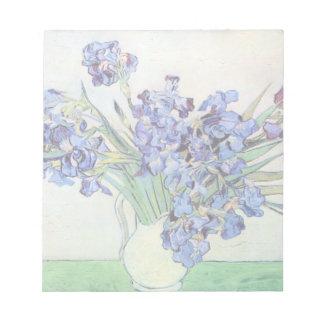 Van Gogh Vase with Irises, Vintage Floral Fine Art Note Pad