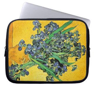 Van Gogh - Vase with Irises Yellow Background Laptop Sleeve
