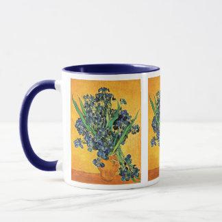 Van Gogh - Vase with Irises Yellow Background Mug