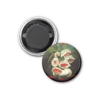 Van Gogh Vase with Peonies Button 3 Cm Round Magnet