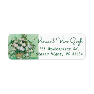 Van Gogh Vase with Pink Roses Floral Painting Return Address Label