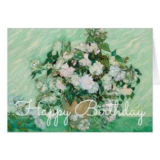Van Gogh Vase with Pink Roses Painting Birthday Card