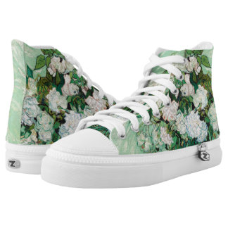 Van Gogh Vase with Pink Roses Vintage Floral Art High Tops