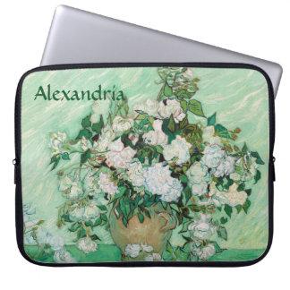 Van Gogh Vase with Pink Roses Vintage Flower Art Laptop Sleeve
