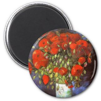 Van Gogh: Vase with Red Poppies 6 Cm Round Magnet