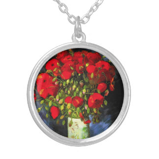 Van Gogh Vase With Red Poppies Necklace