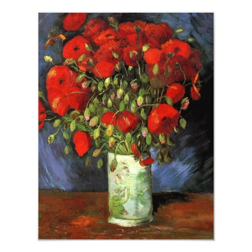 Van Gogh Vase with Red Poppies, Vintage Fine Art 11 Cm X 14 Cm Invitation Card