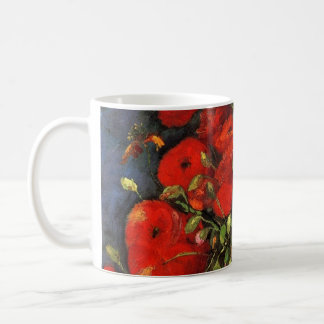Van Gogh Vase with Red Poppies, Vintage Fine Art Basic White Mug