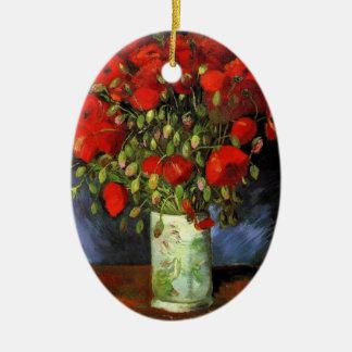 Van Gogh Vase with Red Poppies, Vintage Fine Art Ceramic Oval Decoration