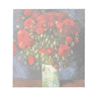 Van Gogh Vase with Red Poppies, Vintage Fine Art Memo Pads