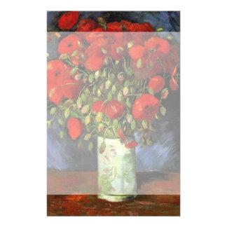 Van Gogh Vase with Red Poppies, Vintage Fine Art Personalised Stationery