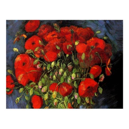 Van Gogh Vase with Red Poppies, Vintage Fine Art Postcard