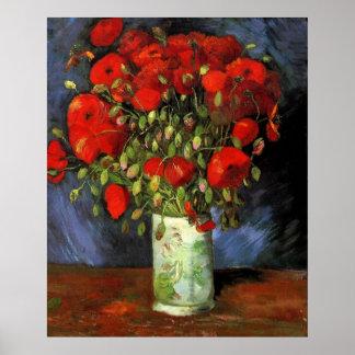 Van Gogh Vase with Red Poppies, Vintage Fine Art Poster