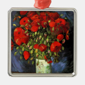Van Gogh Vase with Red Poppies, Vintage Fine Art Silver-Colored Square Decoration