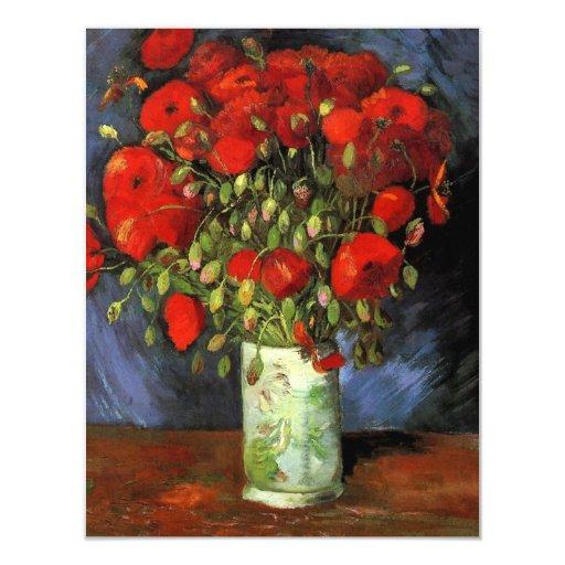Van Gogh Vase with Red Poppies, Vintage Flower Art 11 Cm X 14 Cm Invitation Card