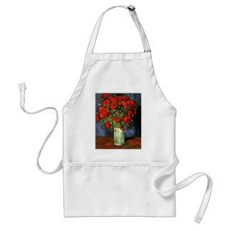 Van Gogh Vase with Red Poppies, Vintage Flower Art Adult Apron