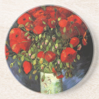 Van Gogh Vase with Red Poppies, Vintage Flower Art Beverage Coaster