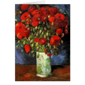 Van Gogh Vase with Red Poppies, Vintage Flower Art Greeting Card