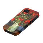 Van Gogh; Vase with Red Poppies, Vintage Flowers iPhone 4 Case