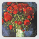 Van Gogh; Vase with Red Poppies, Vintage Flowers Square Stickers