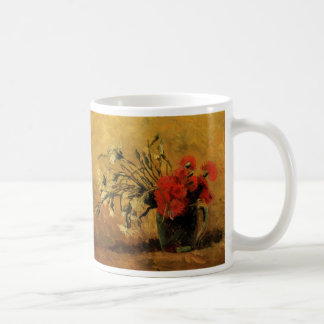 Van Gogh Vase with Red White Carnations on Yellow Coffee Mug