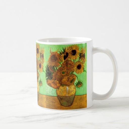 Van Gogh Vase with Sunflowers, Floral Fine Art Basic White Mug