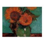 van gogh vase with three sunflowers postcards