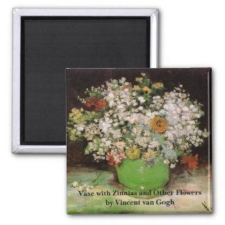 Van Gogh Vase with Zinnias and Flowers, Fine Art Magnet