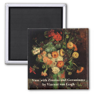 Van Gogh Vase with Zinnias and Geraniums Fine Art Square Magnet