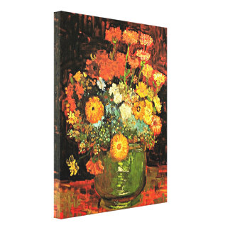 Van Gogh - Vase with Zinnias Canvas Print