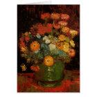 Van Gogh Vase with Zinnias Vintage Floral Fine Art Card