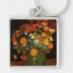 Van Gogh Vase with Zinnias, Vintage Floral Flowers Silver-Colored Square Key Ring