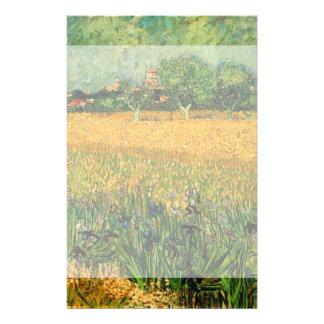 Van Gogh View of Arles w Irises, Vintage Fine Art Stationery Design