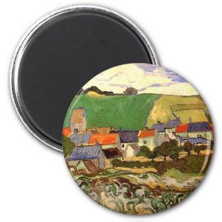 Van Gogh View of Auvers, Vintage Cottage Fine Art 6 Cm Round Magnet