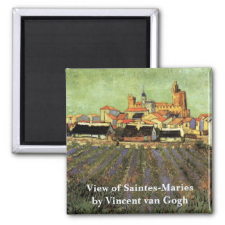 Van Gogh View of Saintes Maries, Vintage Fine Art Magnet